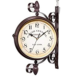 Double Sided Wall Clock, Paddington Station Clock with Waterproof Cover, Vintage Antique-Look Wall-Mounted for Indoor & Outdoor Décor(10in)