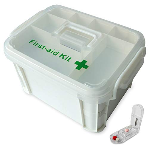 Portable handled medicine first aid box plastic medicine basic organizer holder Family small safety emergency medical storage box kit travel car home camping office vehicle  pill cutter empty