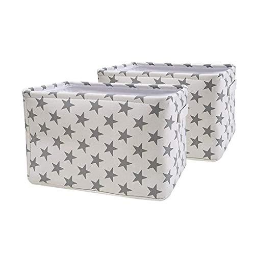 Yunly Caja de almacenamiento, gran capacidad, cesta de almacenamiento de ropa, plegable, organizador de lona con asas para estantes de dormitorio, armario, 40 x 30 x 25 cm, paquete de 2 (blanco)