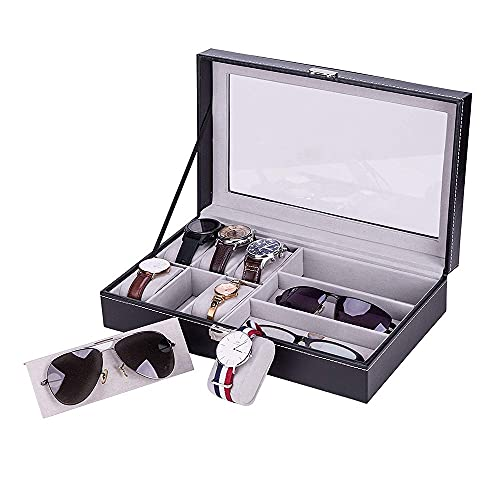 Watch Box and Sunglasses Organizer, 6 Slot for Watch Display & 3 Compartment for Eyeglass Collection,PU Leather Watch Holder Jewelry Case Box for Men Women(Black)