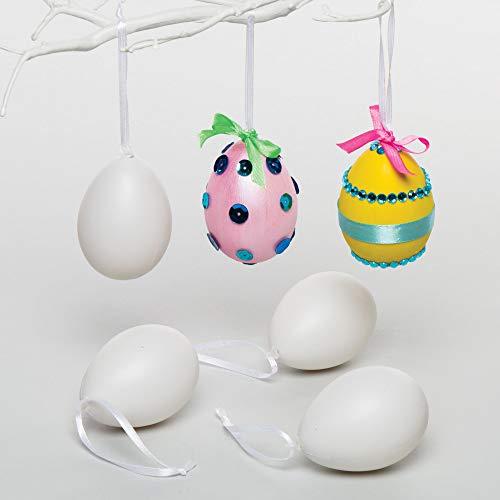 Baker Ross Ostereier zum Aufhängen aus Plastik mit Dekoband für Kinder zum Selbergestalten und Aufhängen (12 Stück)