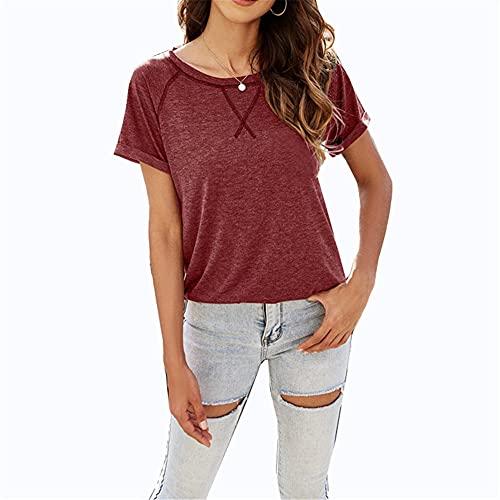 Camisetas de mujer para mujer, camiseta básica para mujer, camiseta deportiva básica, cuello redondo, manga corta, informal, color rojo, 20-22