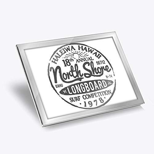 Destination Vinyl ltd Silver Glass Placemat 20x25 cm - BW - Hawaii North Shore Longboard Surf Workplace/Table Mat/Dining Mats/Wipeable/Waterproof #40217