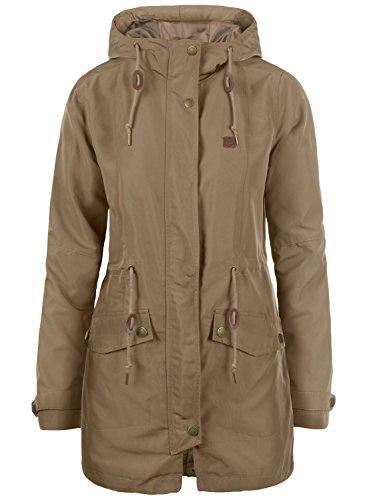 DESIRES Sakura Damen Übergangsmantel Parka Lange Jacke Mit Kapuze, Größe:L, Farbe:Shitake Br (5323)
