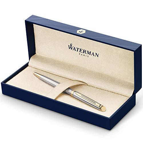 Waterman Hémisphère bolígrafo, acero inoxidable con adorno de oro de 23quilates, punta media con cartucho de tinta azul, estuche de regalo