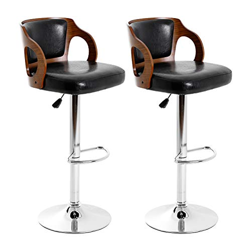 Modern Bar Stool Set of 2 Beech Barstools Height Adjustable Counter Stools Bar Chairs Swivel Bar Stool PU Leather Hydraulic Dining Room Chairs Home Kitchen Dining Room Stools