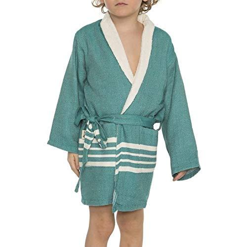 Hamam Kinderbadjas Petrol - maat 2-3 jaar - jongens/meisjes/unisex pasvorm - comfortabele sjaalkraag - kinder badjassen - kinder badjas badstof