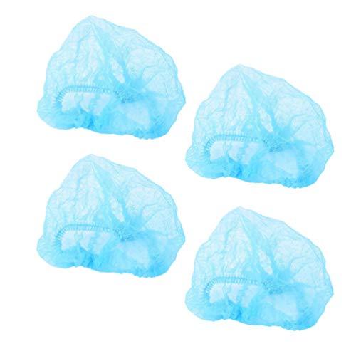 Exceart 20 Stück Einweg-Haarnetze Vlies-Kappen mit Haarkopfabdeckung Netze für Krankenhaussalon Kosmetik Küchenindustrie Tattoo Spa (Blau)