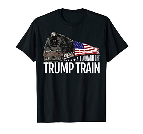 All Aboard The Trump Train 2020 American Flag T-Shirt