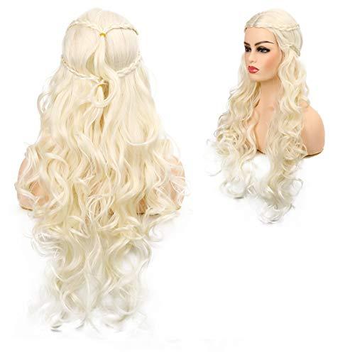 Baruisi Cosplay peluca larga rizada ondulada para mujeres peluca sintética para Halloween fiesta uso diario