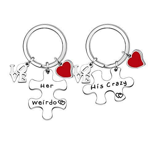 YUANSHI 2 llaveros de acero inoxidable con texto en inglés «Her Weirdo His Crazy Puzles» para mujer, marido, novia o novio