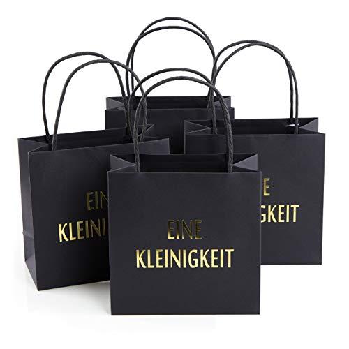 Logbuch-Verlag 4 kleine Papiertaschen schwarz gold Geschenktüten EINE KLEINIGKEIT mit Henkel – Verpackung Weihnachten Geburtstag Kunden Give-away Gastgeschenk