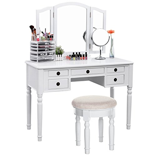 SONGMICS Vanity Set Tri-Folding Mirror Make-up Dressing Table