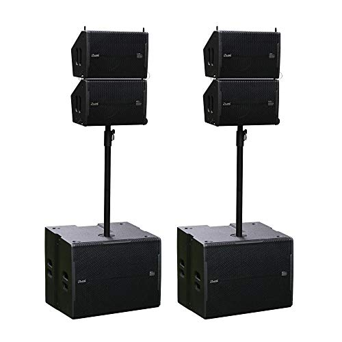 10inch Line Array With 18inch Powered Subwoofer Portable Waterproof 4 Tops 2 Subs Speaker System Set For Indoor Outdoor Use