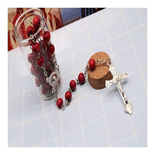 AdorabFruit Jesucristo Clásica Botella de Cristal Bolas de Madera perfumada 6mm Oración Perfume Rosa Collar de Jesús de la Cruz Rosario Elegante católico (Metal Color : 66)