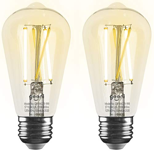 Geeni LUX Edison ST19 Edison WiFi LED Smart Bulb, 2700K - 6500K 8W, E26 Base, Dimmable, Tunable White Light, Compatible with Amazon Alexa & Google Home - No Hub Required- 2 Pack