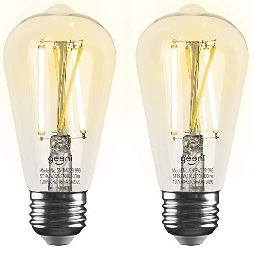 Geeni LUX Edison ST19 Edison WiFi LED Smart Bulb, 2700K - 6500K 8W, E26 Base, Dimmable, Tunable...