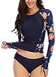 AUBIG Ropa de Baño Mujer Dividida de Manga Larga Anti-Ultravioleta Slim Fit Traje de Baño Sexy Maduro Mujer + Pantalón Corto con Estampado Floral XL Negro