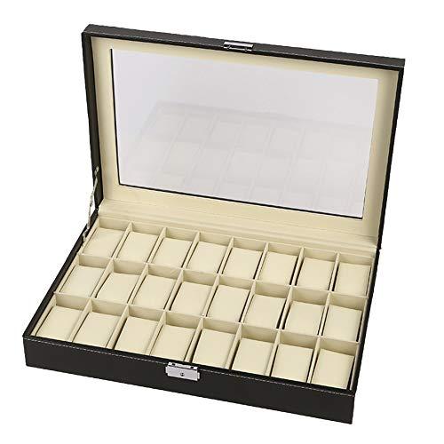 labworkauto Leather Watch Box Display Case Organizer Glass Storage 24 Slot Black