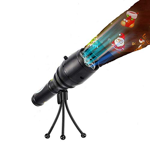 LED Projector Flashlight with Music Portable Handheld Flashlight with 4 SlidesTripod ampHalloween Lights Decoration for PartyChristmas Easter