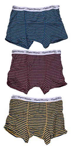 Laundry English Men's 3 Pack Striped Cotton Stretch Boxer Briefs Teal/RED/Yellow Large