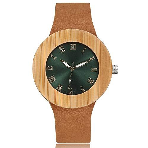 MOLINB Reloj de Madera Reloj de Madera para Mujer Reloj de Pulsera Vestido para Mujer RelojModa Azul Verde Esfera Correa de Cuero Ginebra Top Brand Luxury, Verde