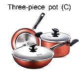 Pan Sets Cookware Set Pot Kitchen Full Set Of Household Three-piece Flat-bottomed Fried Soup Pot...