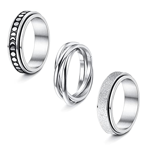 SAILIMUE 3 Pcs Stainless Steel Spinner Rings for Women Men Fidget Band Rings Moon Star Celtic Stress Relieving ring for Anxiet Couple Rings Wedding Promise Rings Set Valentine's Day Gift(5-9)