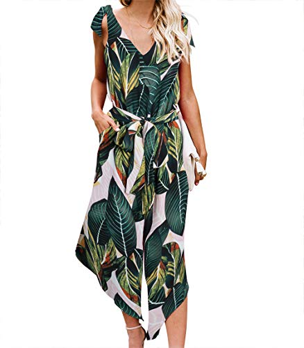 BELONGSCI Women Sleeveless Jumpsuit with Belt V-Neck Wide Leg Long (Multicolor, L)