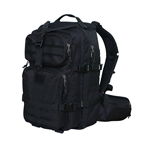 Military Tactical Backpack Assault Pack, Vihir 3 Day Assault Pack Army Molle Bug-out Bag for Hunting Travel Hiking Camping, 35L, Black
