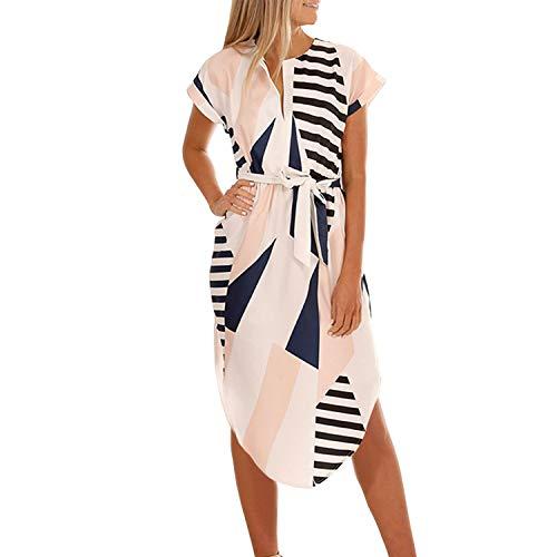 TSWRK zomerjurk dames korte mouwen V-hals strandjurken bloemenprint geometrisch patroon jurken knielange avondjurk met riem
