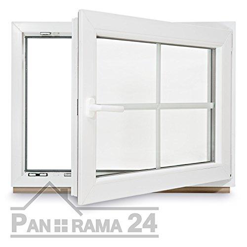 Kunstoff Sprossenfenster Kellerfenster Fenster 2fach Verglasung BxH 1000x700 DIN Rechts (Griff Links) WINKHAUS Beschlag & Pilzkopfverriegelung