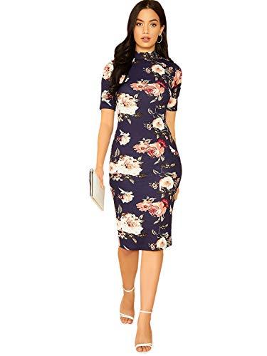 SheIn Women's Short Sleeve Stand Collar Midi Sheath Pencil Dress Medium Floral