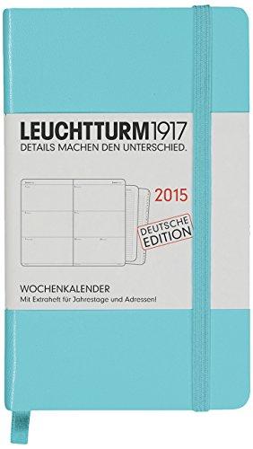 Leuchtturm1917 345269 Wochenkalender Pocket (A6) 2015 mit Extraheft für Adressen und Jahrestage, Deutsch, türkis