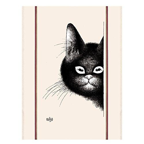 Winkler - Torchon Dubout chat souris – 48×72 cm - 100% coton absorbant - Made in France - Serviette à vaisselle, chiffon de nettoyage - Dessin humoristique