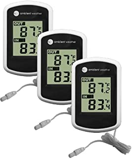 Ambient Weather WS-02-3 Compact Indoor/Outdoor Thermometer with Probe, 3 Pack