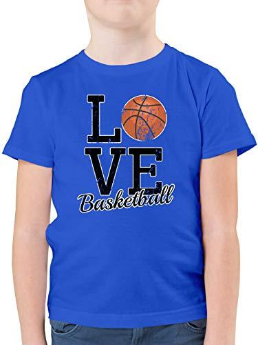 Sport Kind - Love Basketball - 164 (14/15 Jahre) - Royalblau - Tshirt Basketball Kinder - F130K - Kinder Tshirts und T-Shirt für Jungen