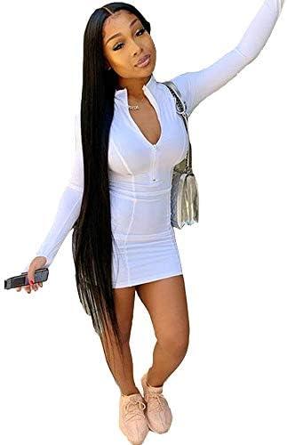XLLAIS Women Front Zipper Sexy Long Sleeve Bodycon Party Club Sheath Dress White M product image