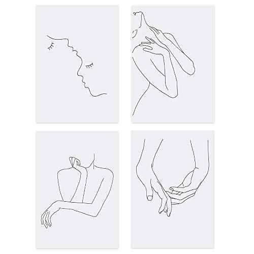 Leinwandbild, A4, 4 Stück, moderne einfache Linien, Bild für Heimdekoration, Wohnzimmer, Wanddekoration – kein Rahmen (Stil 2)
