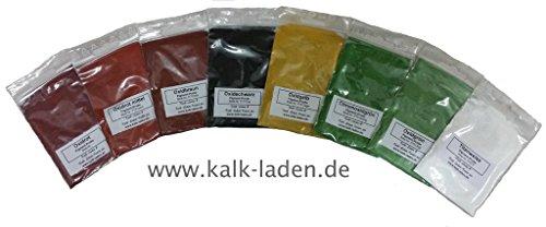 Pigment-Proben-Set, Oxidfarben, 8 Beutel mit jeweils 10 g, für Kalk-, Leim- und Binderfarben
