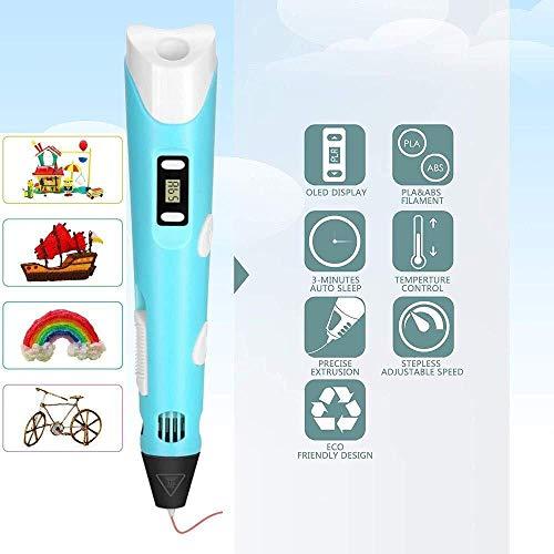 3D-Pen mit LED-Anzeige Geschwindigkeit Temperaturregelung 3D-Zeichnung Doodler Pen 3 Farbe PLA Filament Refills Kunst und Handwerk for Kinder blau (Color : Purple)