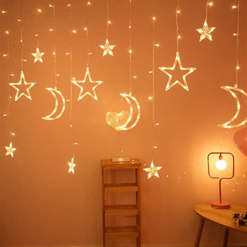 Wenyun Guirnalda de luces con estrellas y lunas, 3 m, 8 modos,...