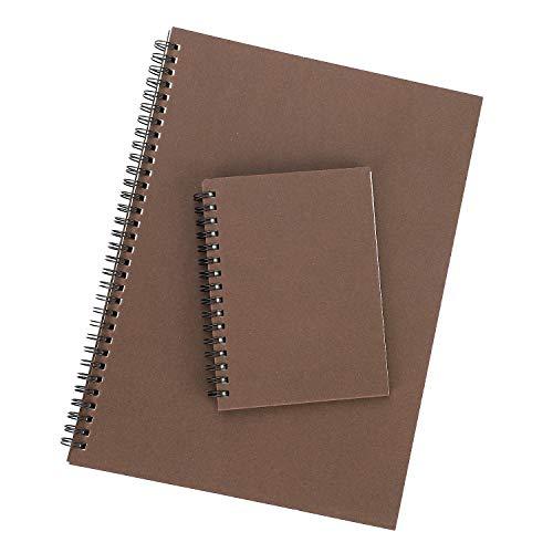 2 stuks A4 + A6 spiraalblok, kraftpapier, notitieblok, dagboek, hardcover, 160 pagina's, kantoorbenodigdheden cadeau, kerstcadeau, voor kantoor, school, bedrijf Koffie