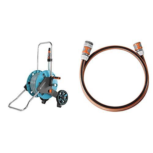 Gardena AquaRoll M Set: Schlauchwagen mit 20 m Classic-Schlauch & Anschlussgarnitur Comfort Flex 13 mm (1/2 Zoll), 1.5 m: Schlauchadapter zum Anschluss des Schlauchwagens, 25 bar Berstdruck