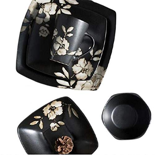 Zestaw 5 ręcznie malowanych czarnych kwiatów hibiskusa ceramiczna zastawa stołowa kwadratowa talerz owoc naczynie znak kubek gospodarstwo domowe