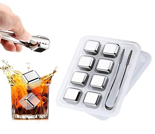 Edelstahl Eiswürfel Set, TOCYORIC 8 Whisky Eiswürfel Wiederverwendbar Edelstahl Kühlsteine, Whiskey Rocks Cooling Stones, Geschenk für Männer
