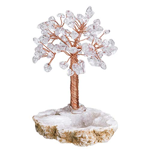 mookaitedecor Natural Rock Quartz Healing Crystals and Gemstones Tree,Stone Money Tree Feng Shui Ornament with Geode Cluster Base