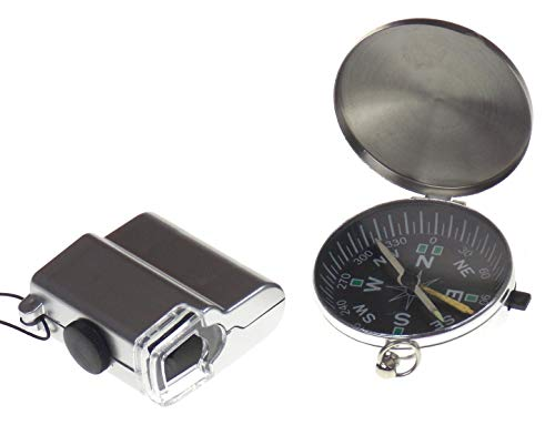 Hickoryville Junior Adventurer's Pocket Microscope with LED Light and Compass Bundle