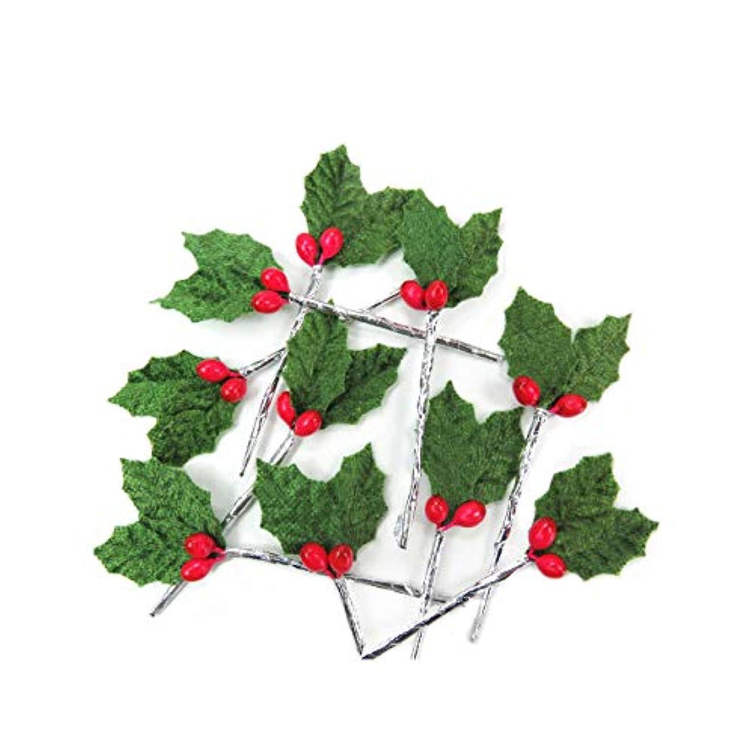 教養がある不一致手紙を書くクリスマスケーキ ピック 飾り◆FX-2 緑のヒイラギ(10本入)