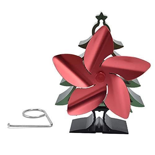 RUIRUIY Ventilador de Estufa de 5 aspas accionado por Calor, ecológico y eficiente Ventilador de Chimenea de hogar con Forma de árbol de Navidad para leña/Quemador de leña/Chimenea